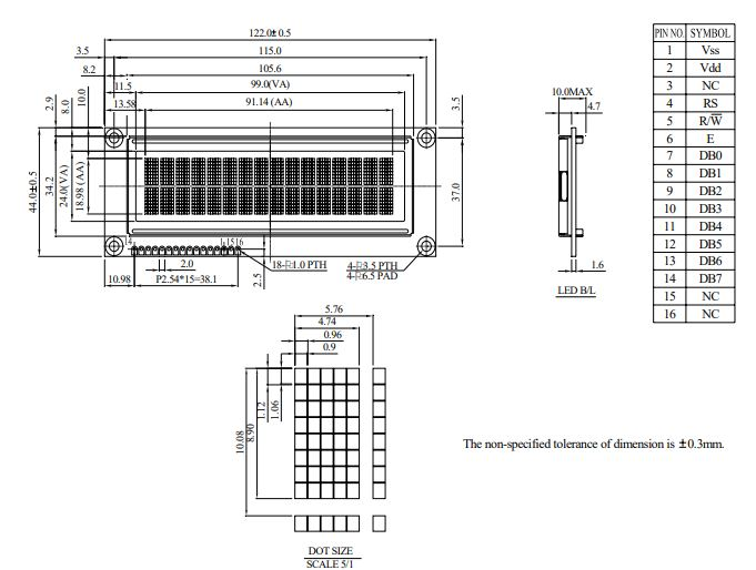 طرح کلی ال سی دی WEH001602BLPP5N00001