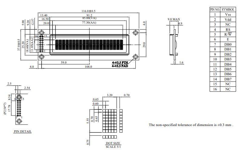 طرح کلی ال سی دی WEH002002ARPP5N00000