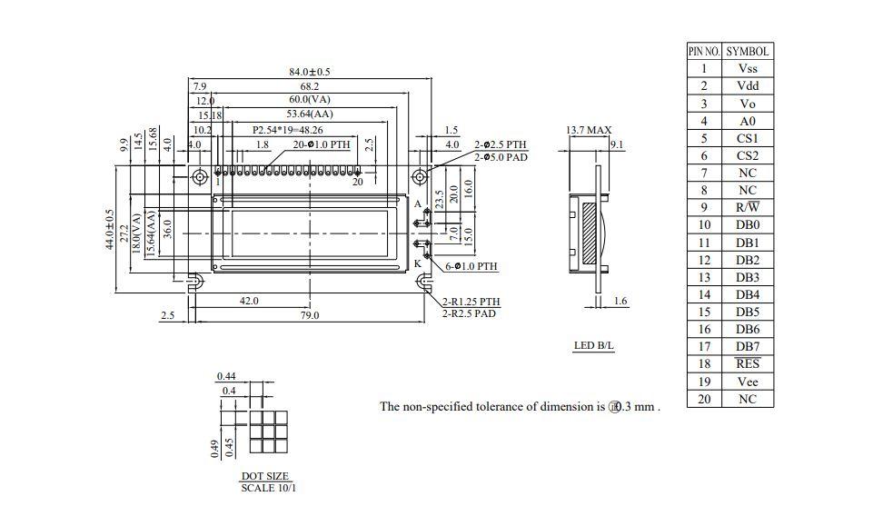 شماتیک ال سی دی WG12232A-TMI-V#A