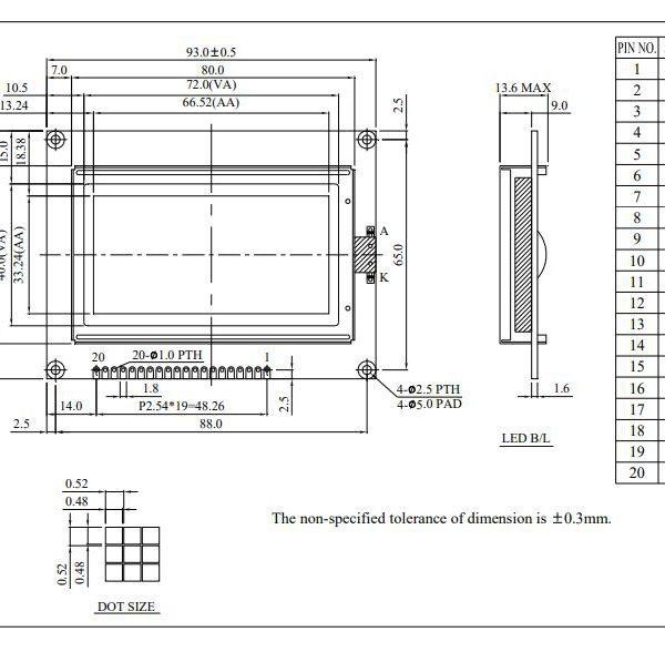 شماتیک ال سی دی WG12864A-TMI-V#N
