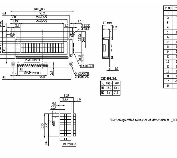 طرح کلی ال سی دی WH1602A-TMI-ET#
